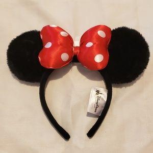 Minnie Mouse Satin Polka Dot Bow Ear Headband